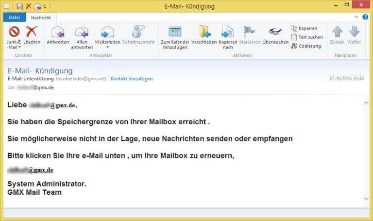 E-Mail- Kündigung von E-Mail-Unterstützung (m.oberlader