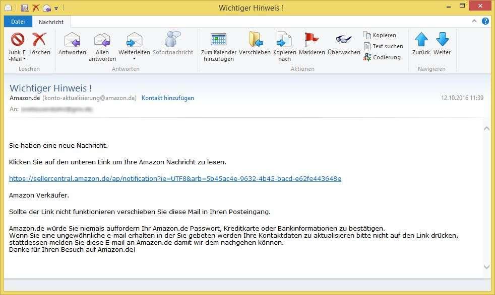 Konto-Aktualisierung Amazon.De