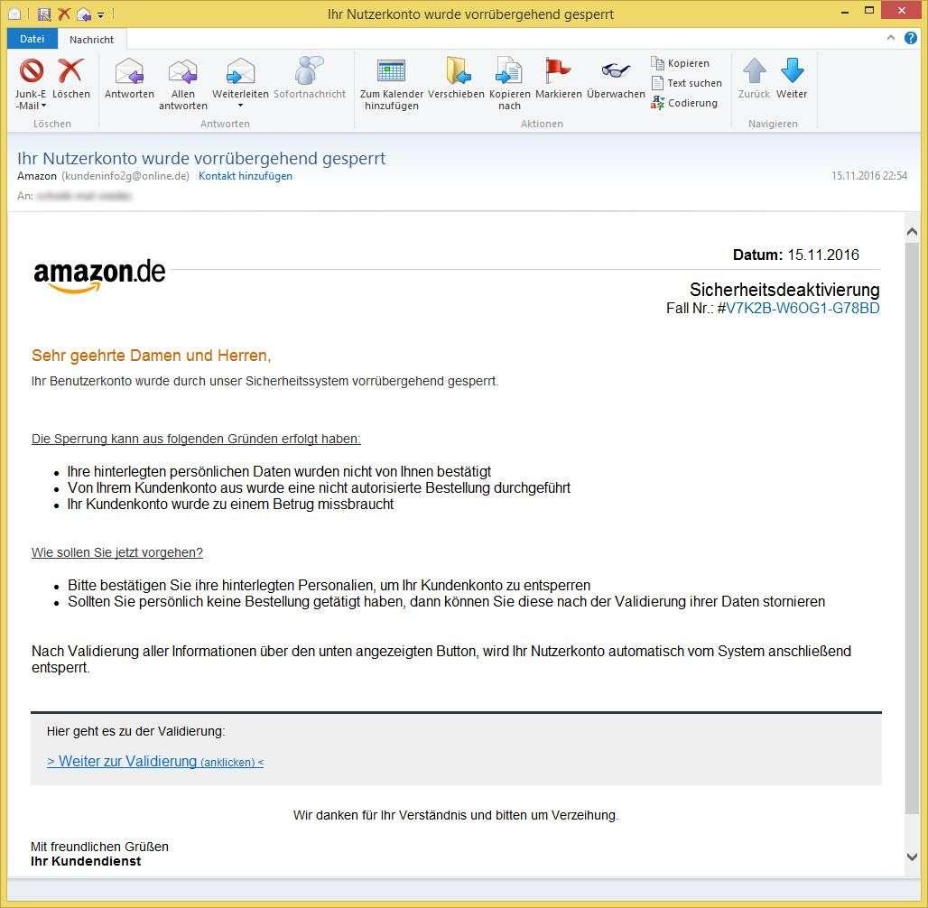 Ihr Nutzerkonto wurde vorrübergehend gesperrt von Amazon ...