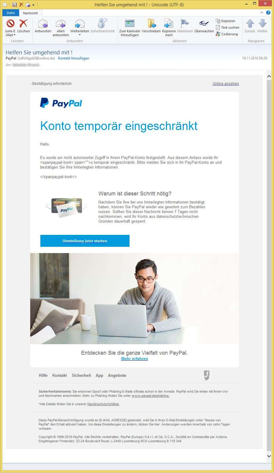 Paypal Email Melden