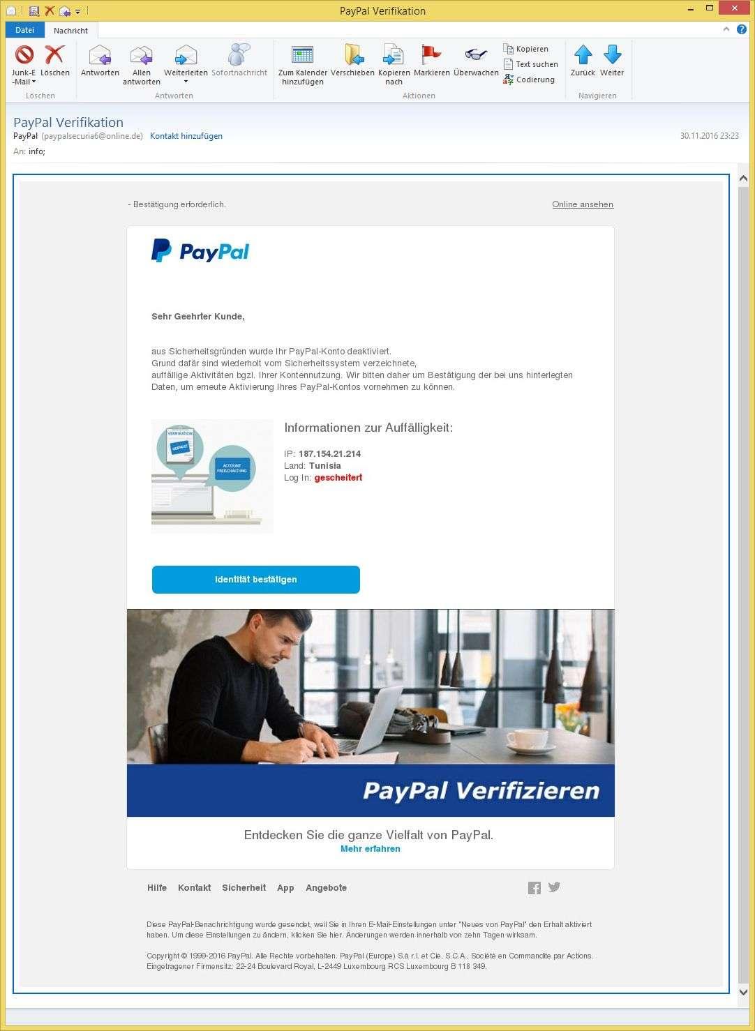 Paypal Mail Gefälscht