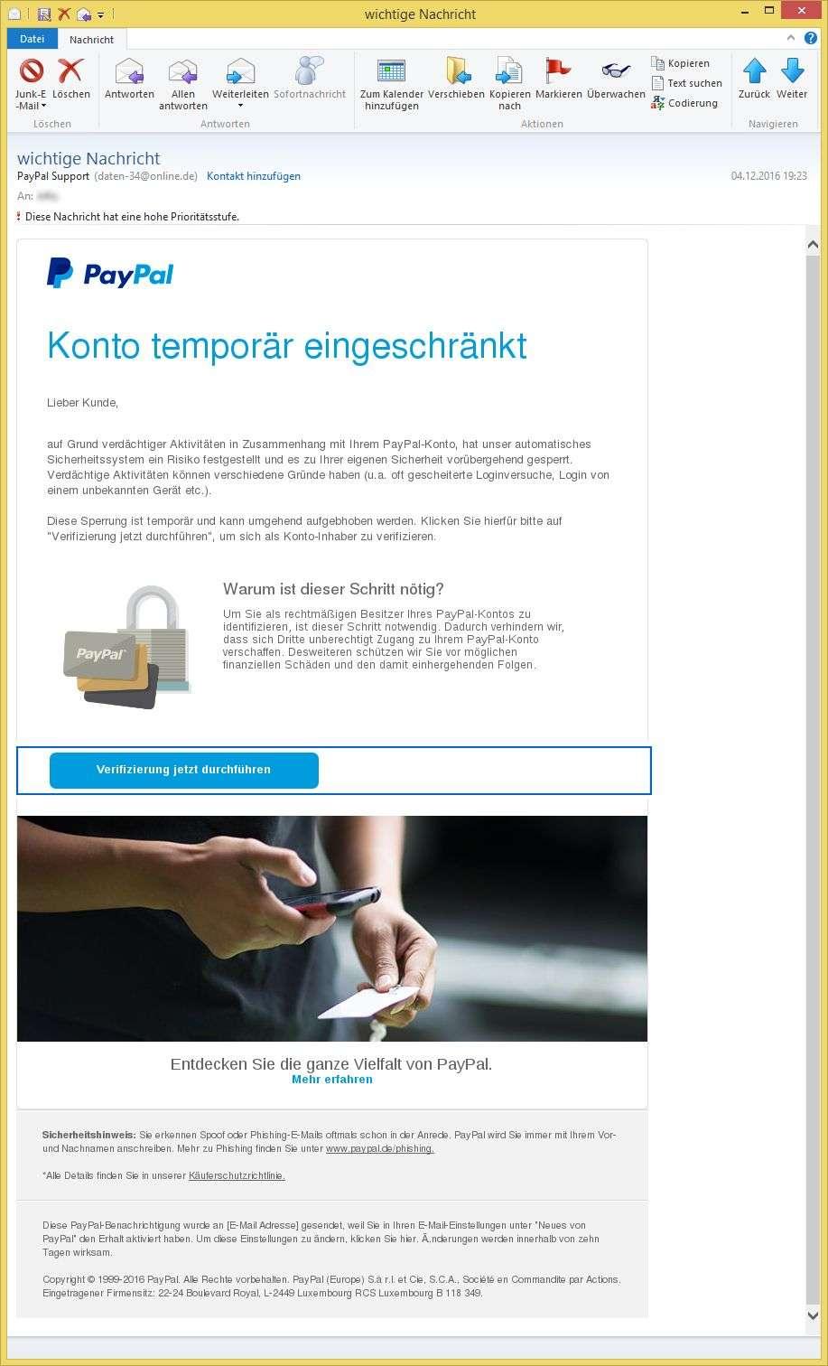 Paypal Verdächtige Mail