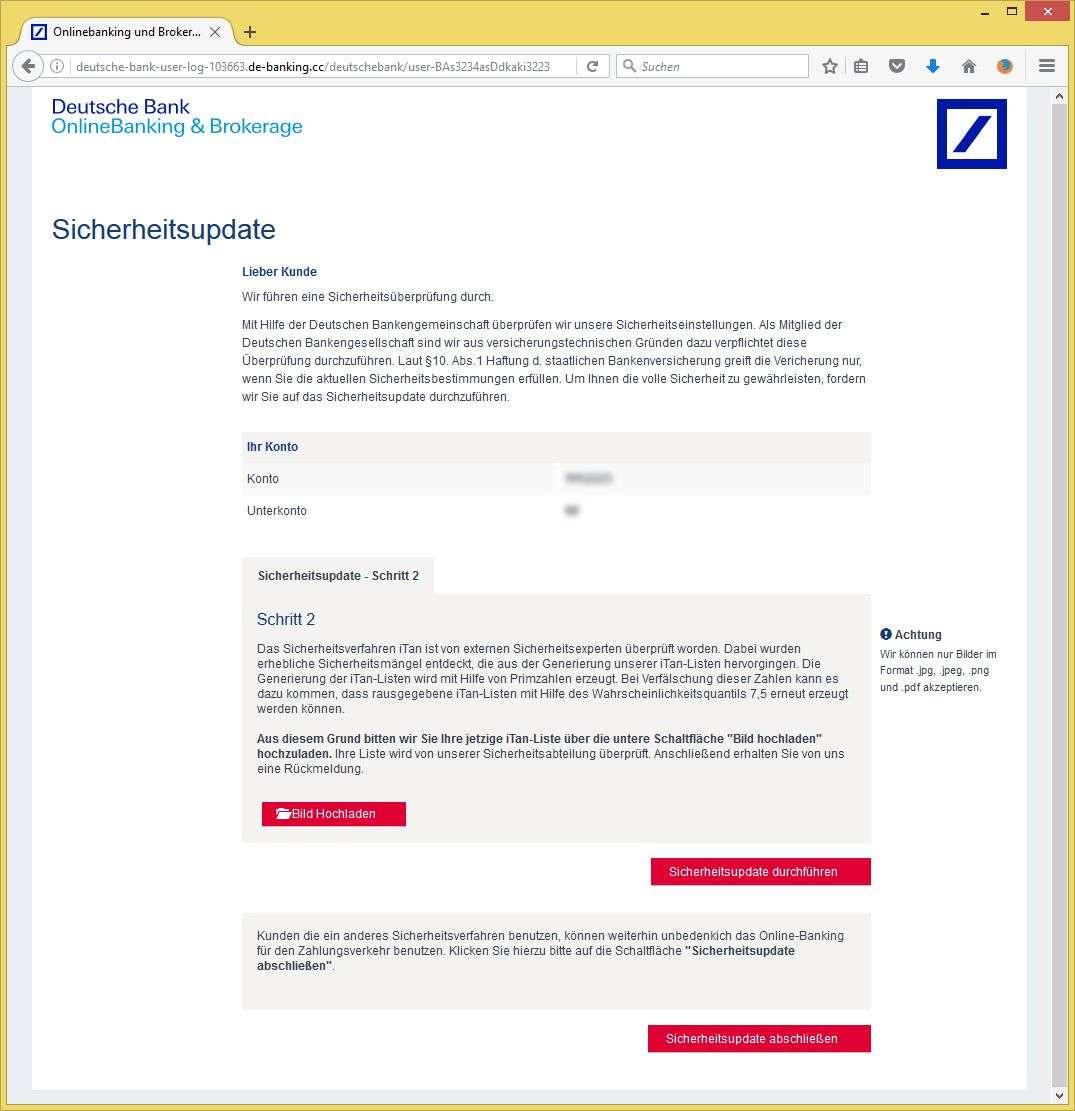 Itan Deutsche Bank: Wichtige Mitteilung Zu Ihrem Bankkonto! Von Deutsche