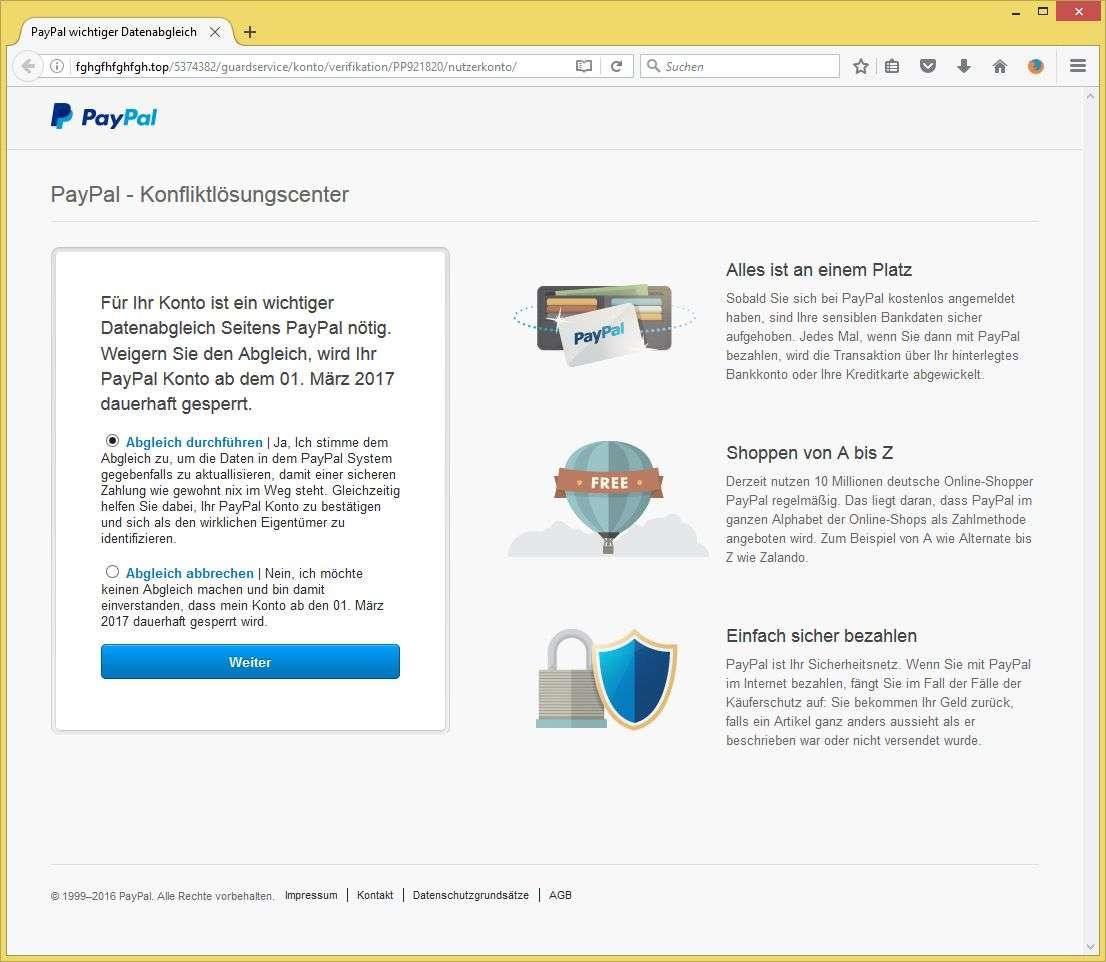 Datenabgleich Paypal