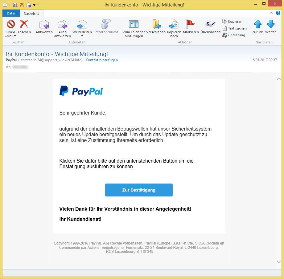 Paypal Wichtige Mitteilung