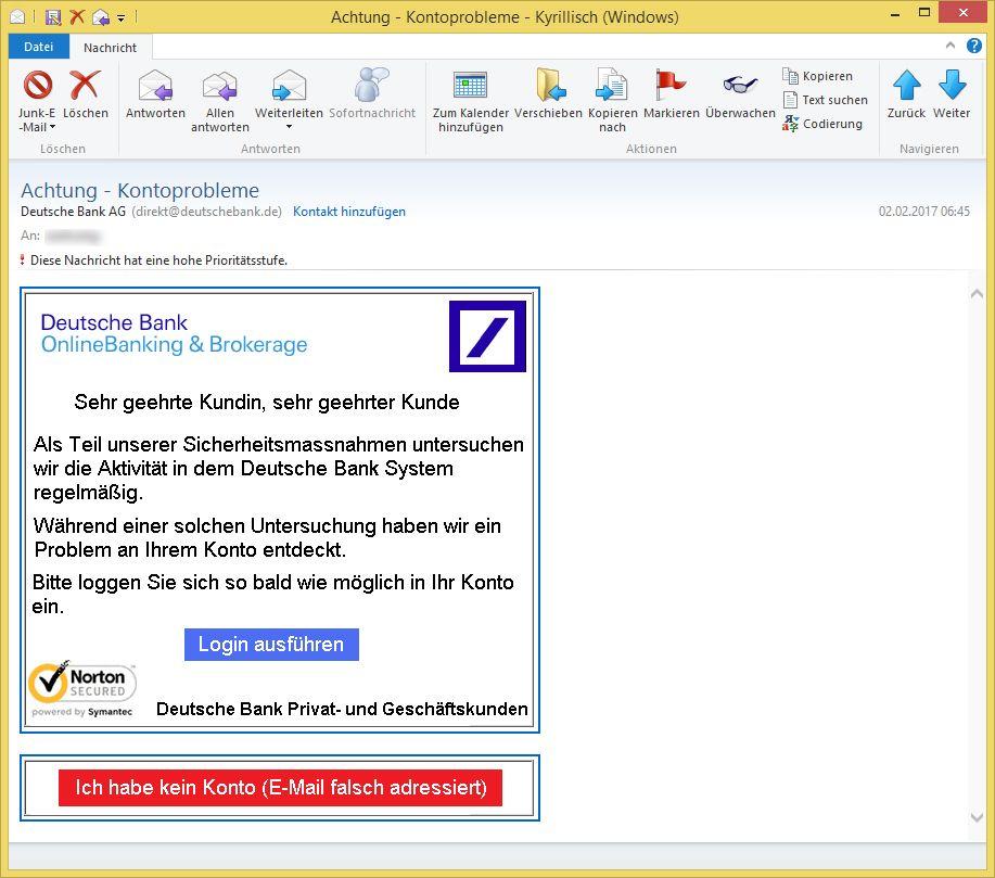 Achtung – Kontoprobleme von Deutsche Bank AG (direkt@deutschebank.de on
