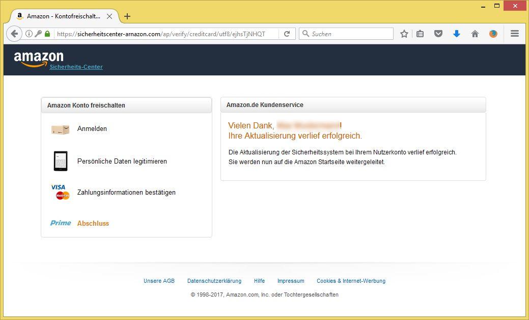 Amazon Sicherheits Email