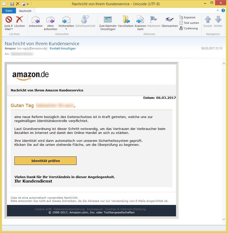 Amazon Nachricht Von Ihrem Kundenservice