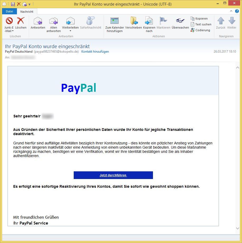 Paypal Email Konto Eingeschränkt