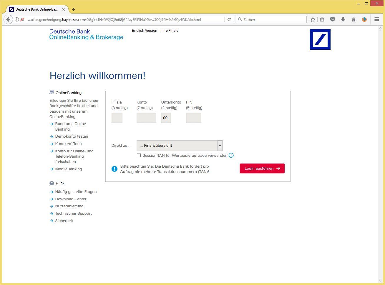 Sicherheit Fьr Konto Deiban Von Deutsche Bank Privat Und Gesch