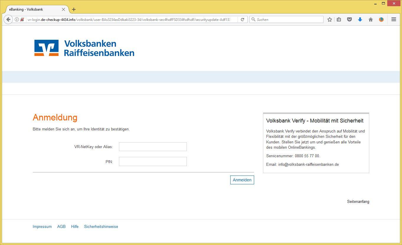 Ihr Volksbankkonto - wichtige Nachricht! von Volksbank