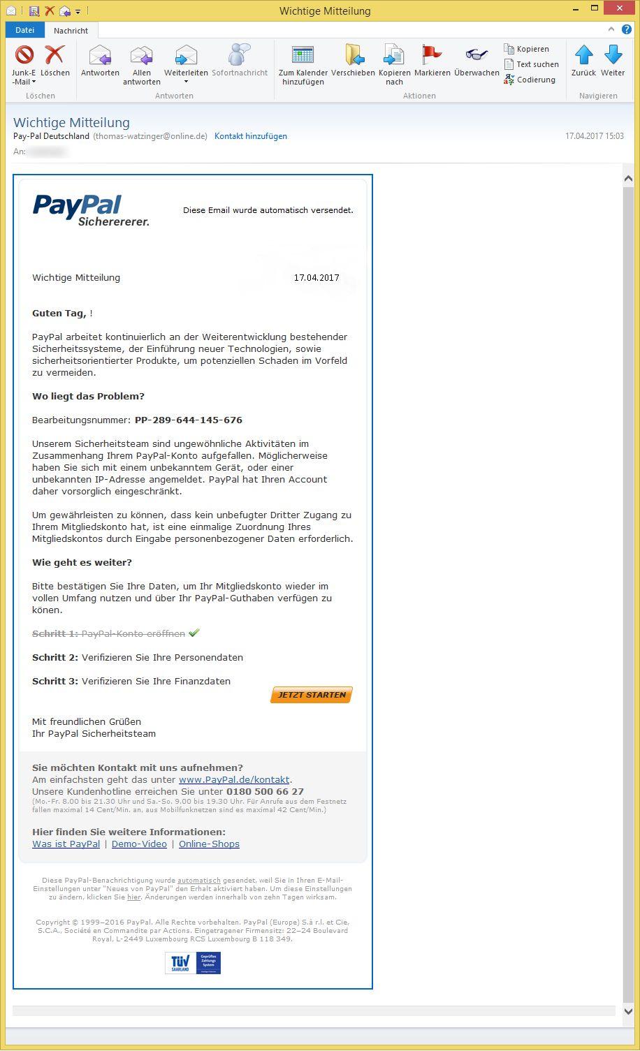 paypal login mit unbekanntem gerät
