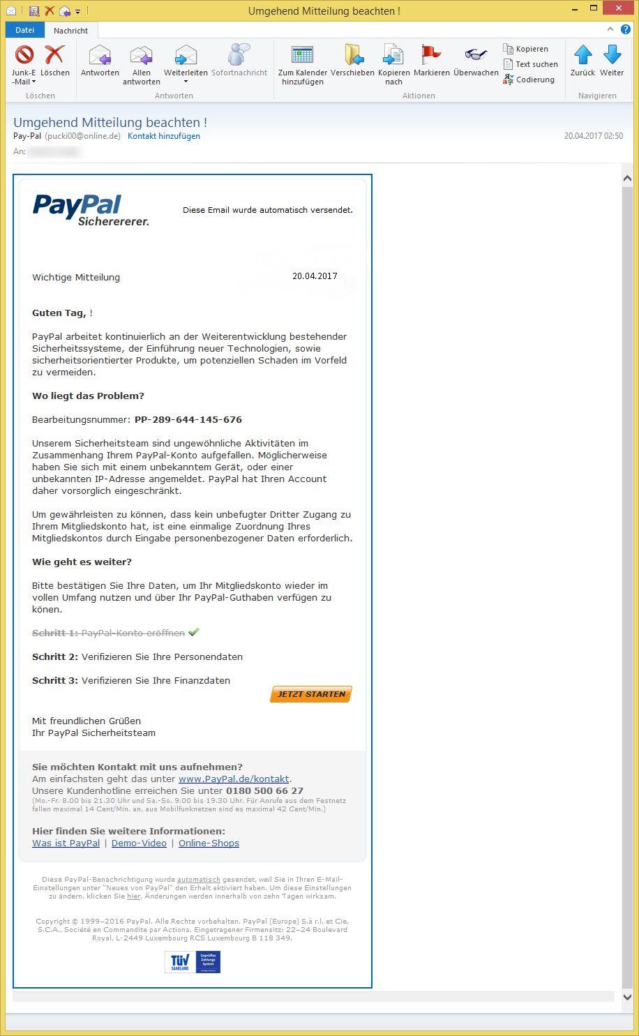 Paypal Sicherheitsteam