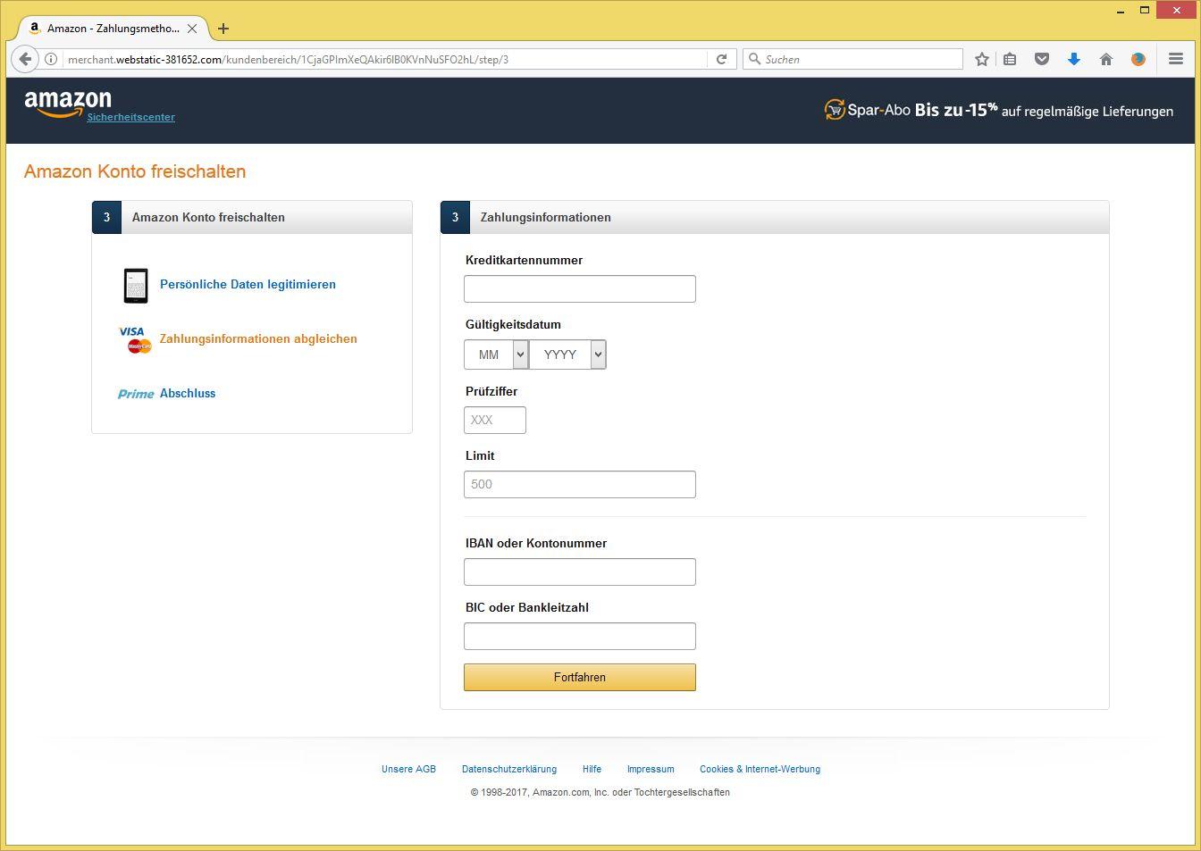 Amazon Sicherheitscenter