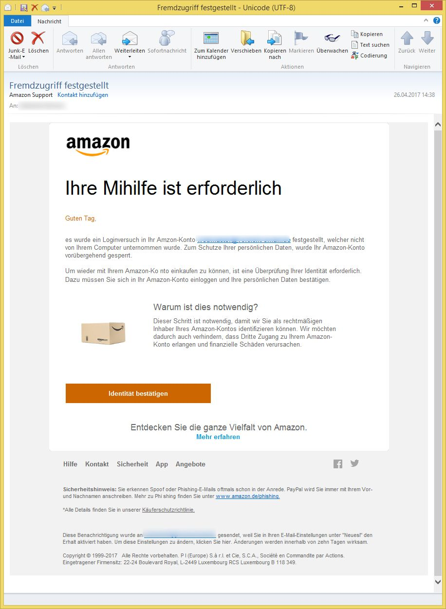 fremdzugriff festgestellt von amazon support vorsicht e mail. Black Bedroom Furniture Sets. Home Design Ideas