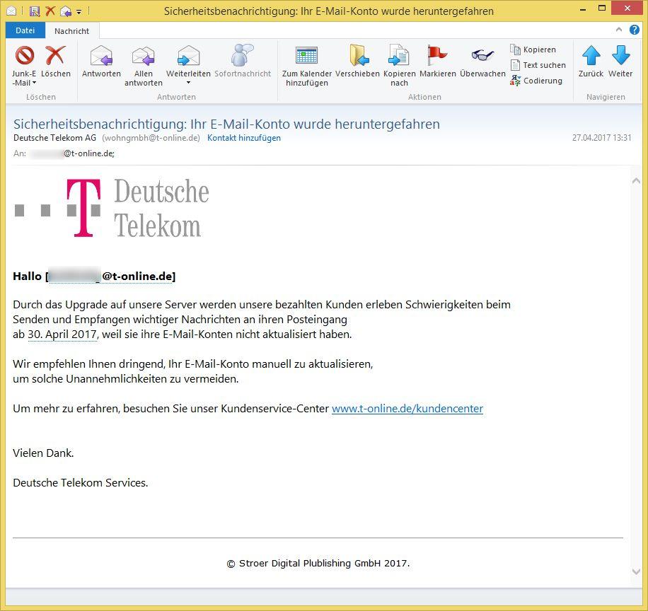 sicherheitsbenachrichtigung ihr e mail konto wurde heruntergefahren von deutsche telekom ag. Black Bedroom Furniture Sets. Home Design Ideas