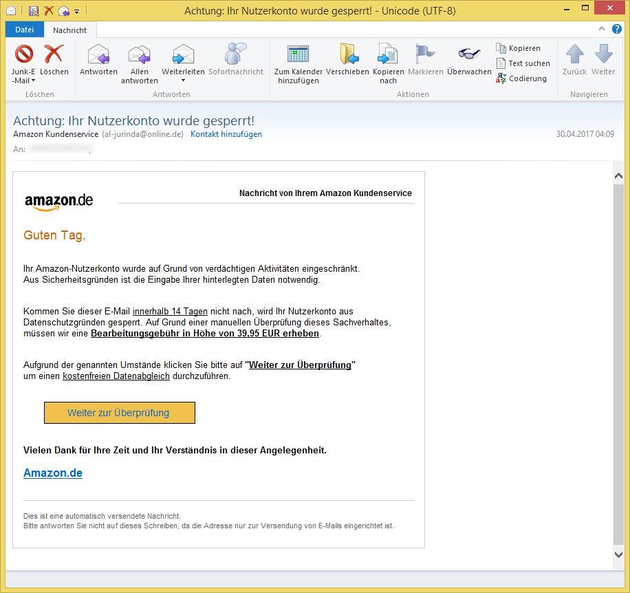 Achtung: Ihr Nutzerkonto wurde gesperrt! von Amazon Kundenservice ...