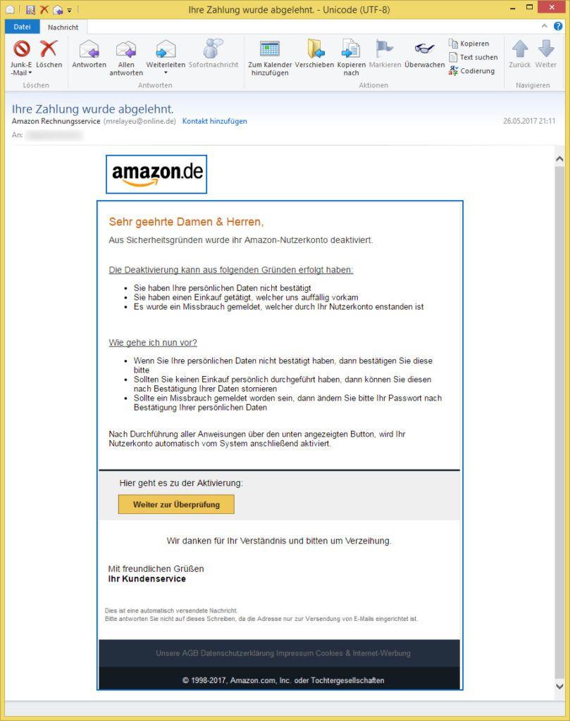 Ihre Zahlung wurde abgelehnt. von Amazon Rechnungsservice