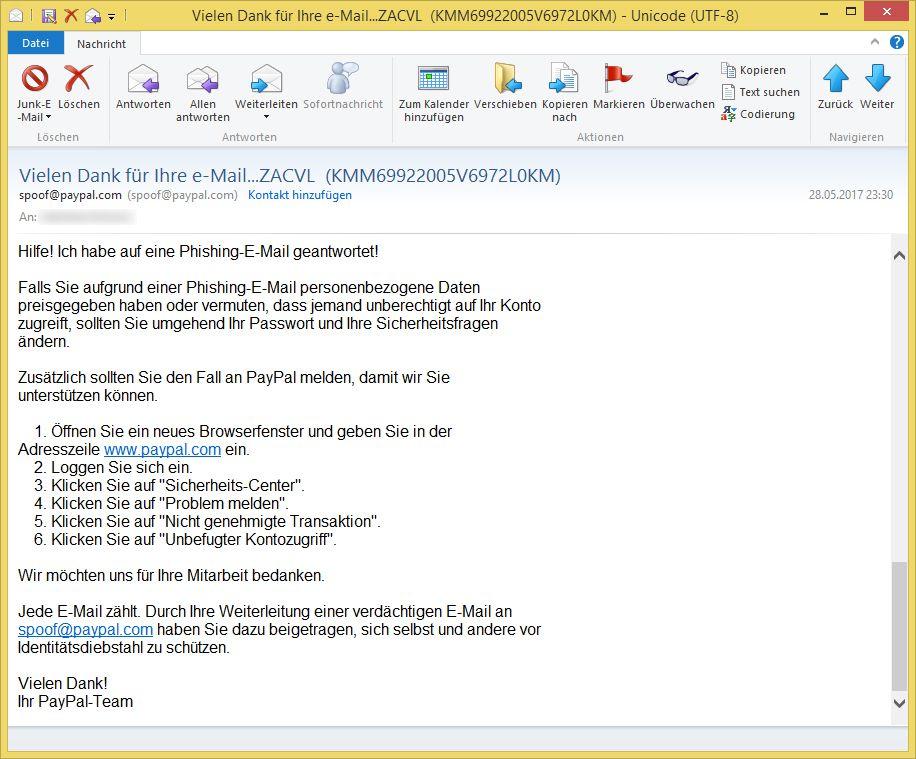 paypal phishing melden