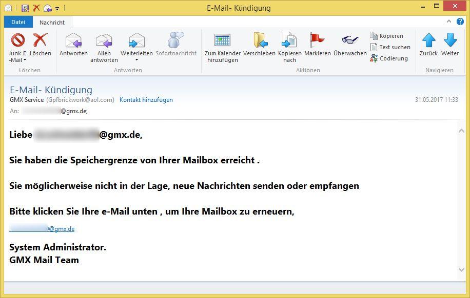 E Mail Kündigung Von Gmx Service Gpfbrickwork At Aolcom Vorsicht