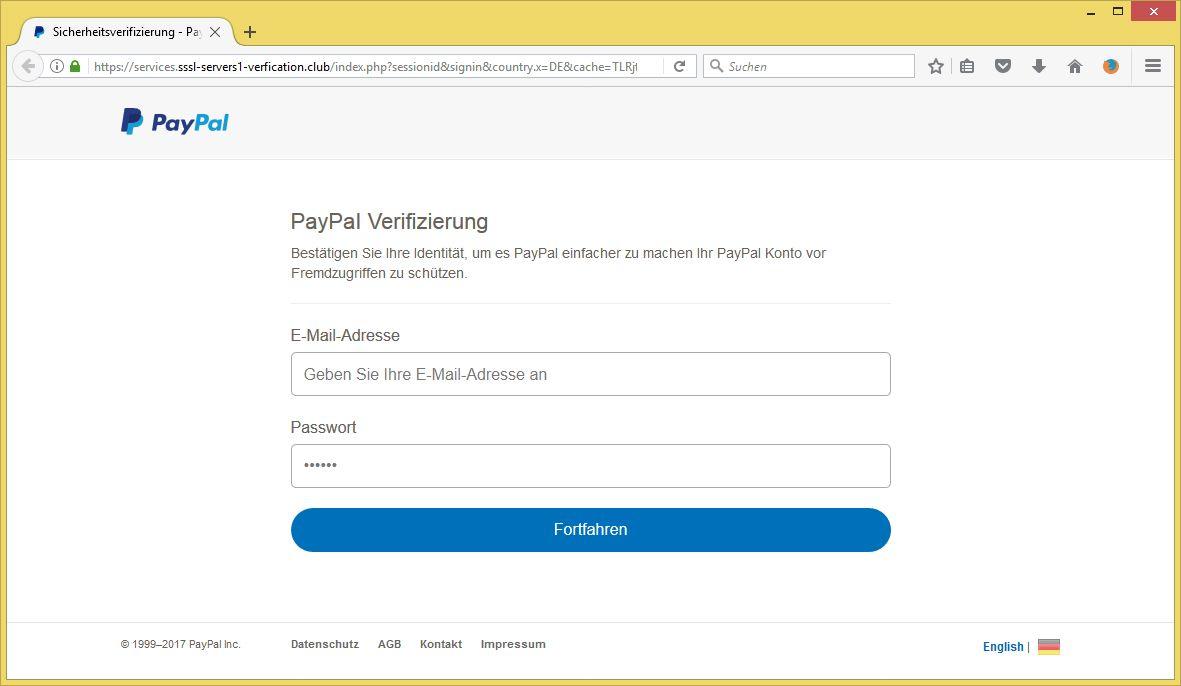 verifizierung paypal konto