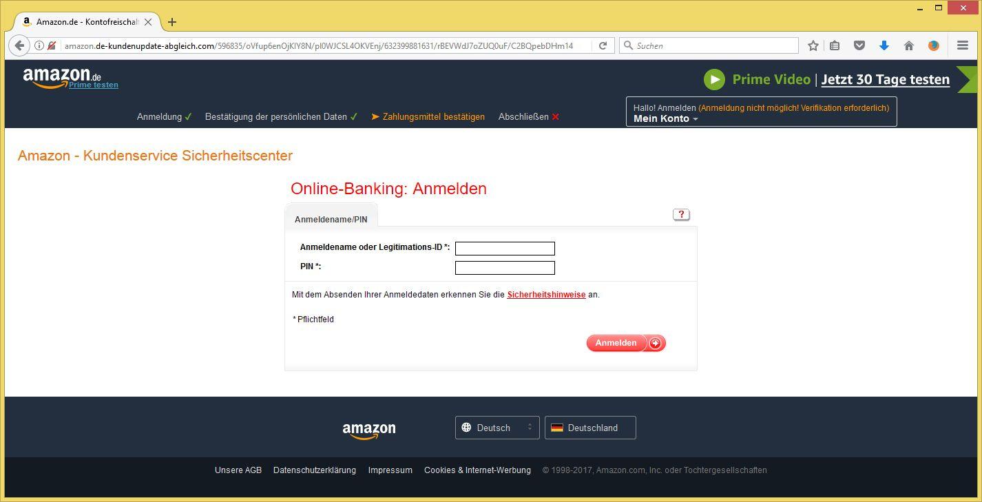 Konto Aktualisierung Amazon
