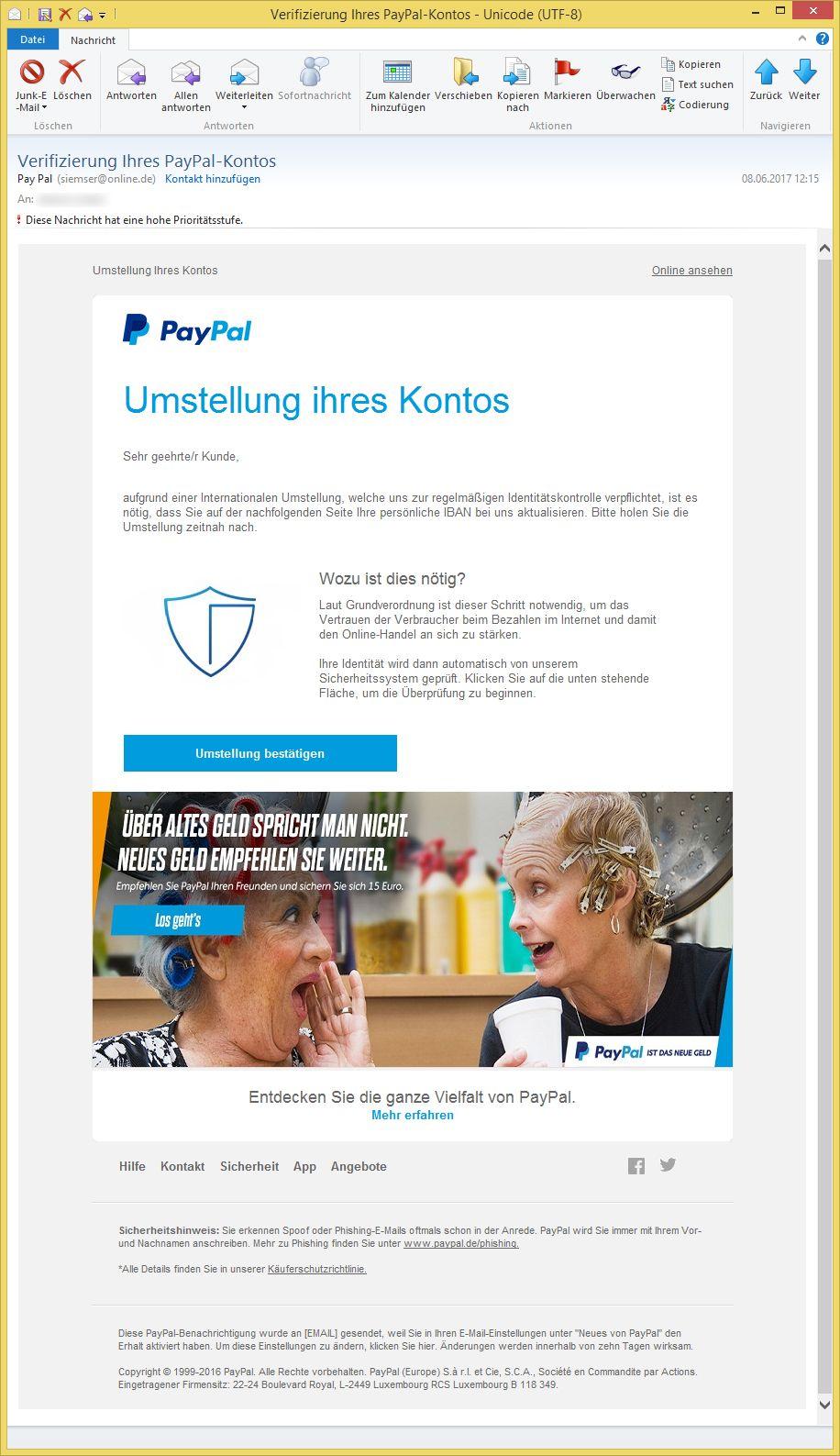 Verifizierung Ihres Paypal Kontos
