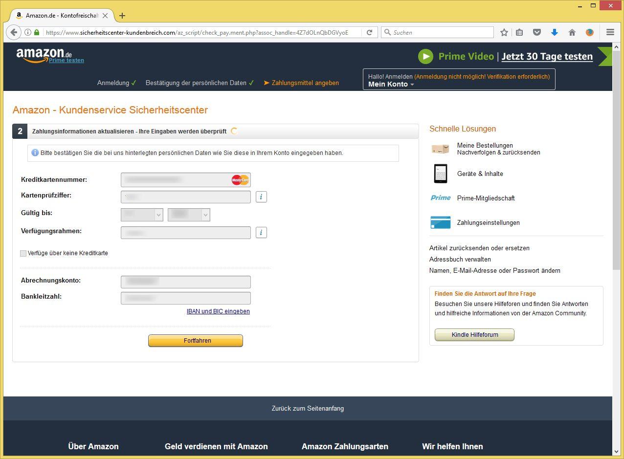Amazon Email Maßnahme Erforderlich