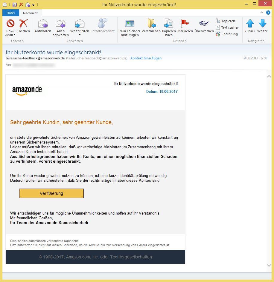 Amazon Ihr Nutzerkonto Wurde Eingeschränkt