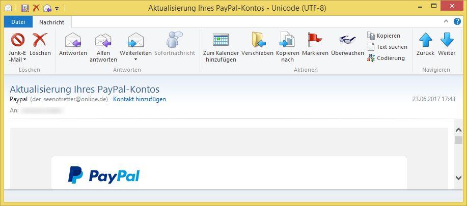 Versuchte änderungen Des Paypal-Kontos