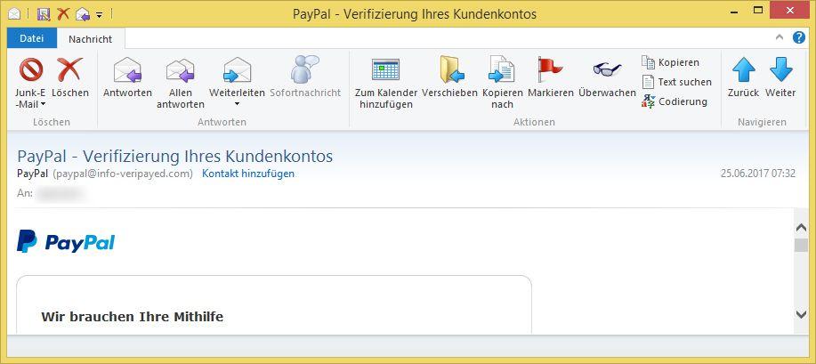 paypal verifizierung