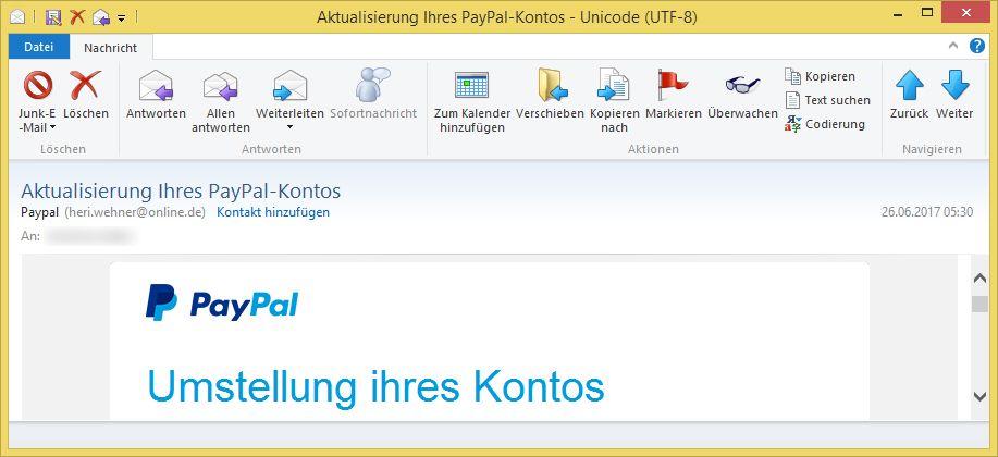 paypal überweisung email
