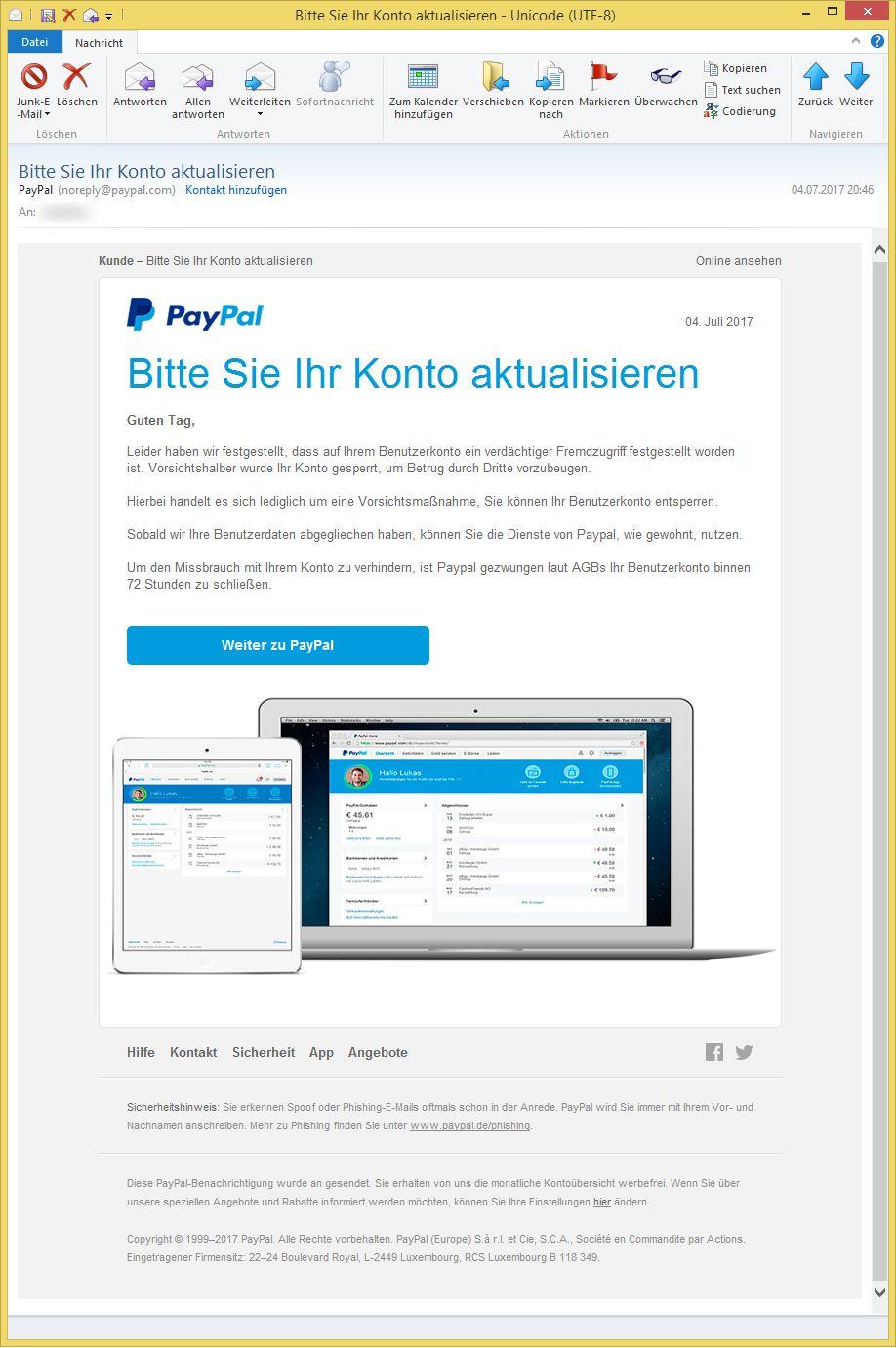 paypal bitte aktualisieren sie ihr konto