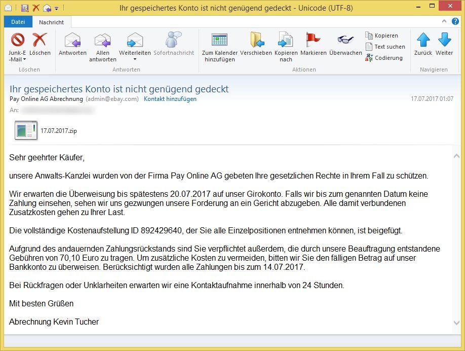 Abrechnung Pay Online24 Gmbh : konto lastschrift konnte nicht vorgenommen werden von onlinepay24 gmbh inkasso ~ Themetempest.com Abrechnung