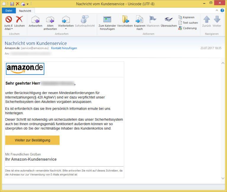 Nachricht vom Kundenservice von Amazon.de (service@amazon