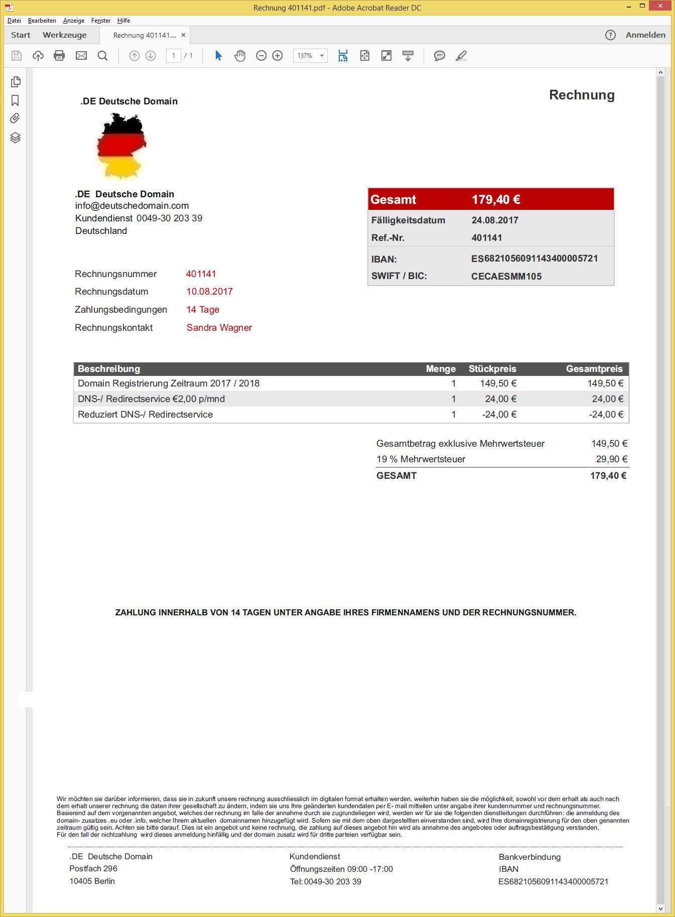 domainregistrierung 2017 2018 von de deutsche domain support20 vorsicht e. Black Bedroom Furniture Sets. Home Design Ideas