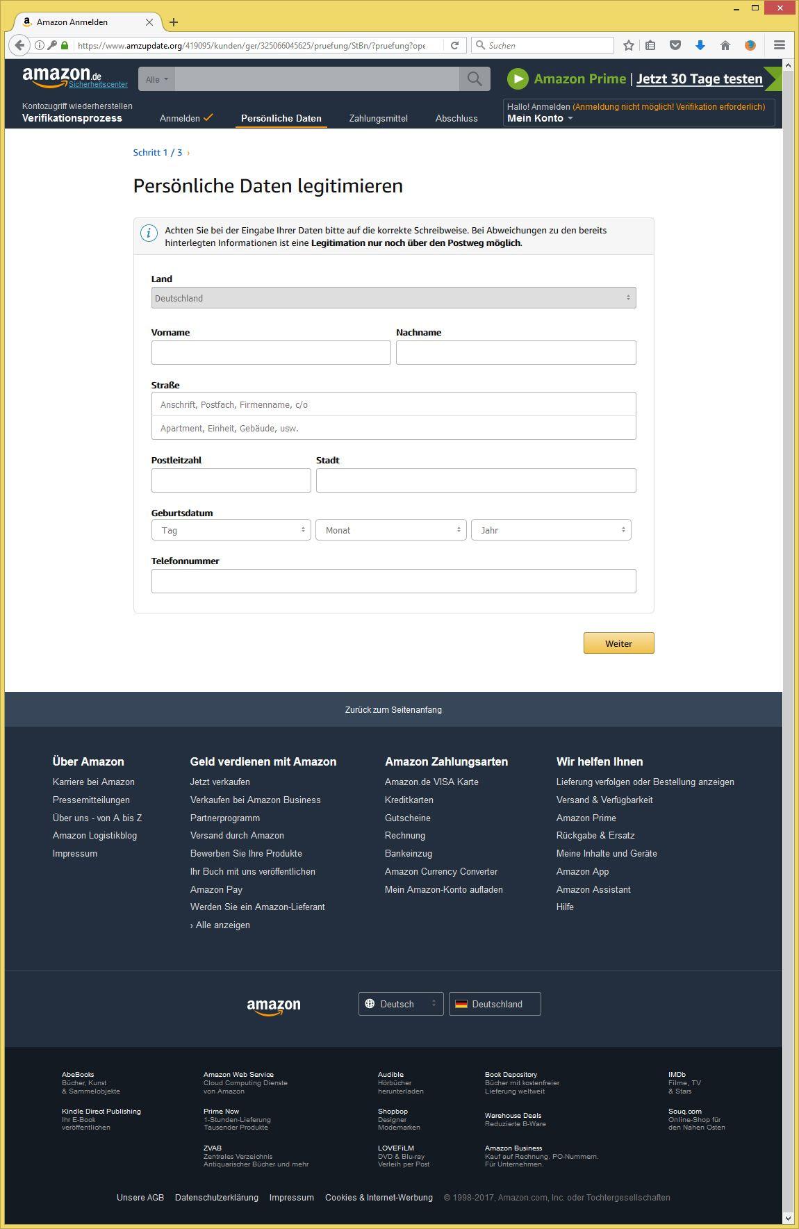 Amazon Kundencenter Spam
