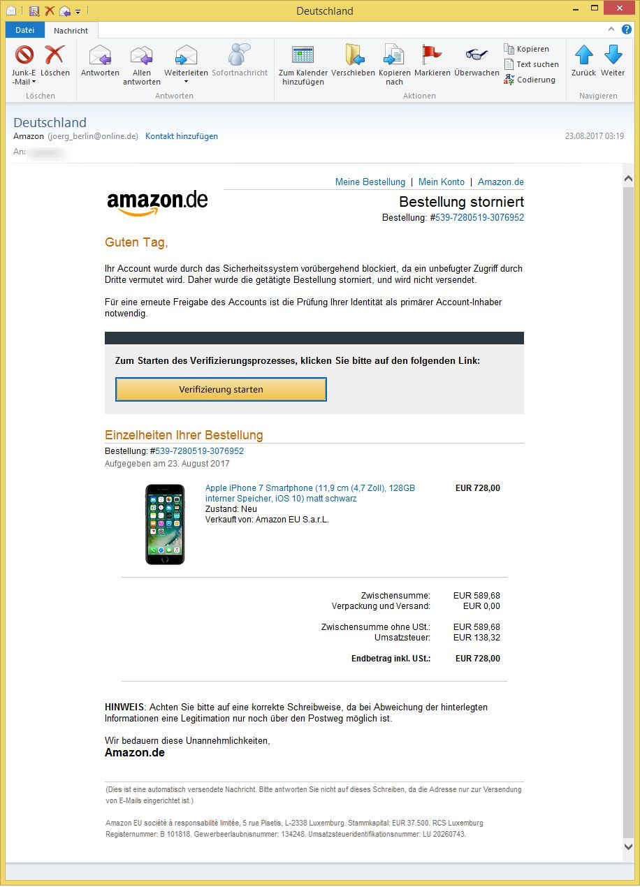 Amazon Phishing Deutschland Von Amazon Diverse E Mail Adressen
