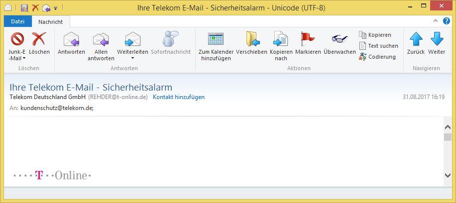 phishing ihre telekom e mail sicherheitsalarm von telekom deutschland gmbh rehder t online. Black Bedroom Furniture Sets. Home Design Ideas