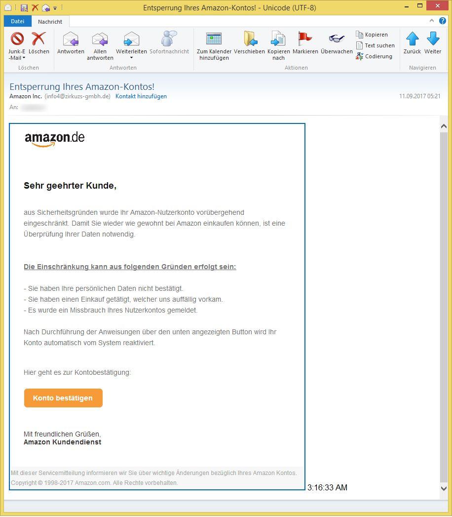 amazon phishing weiterhin unterwegs entsperrung ihres. Black Bedroom Furniture Sets. Home Design Ideas