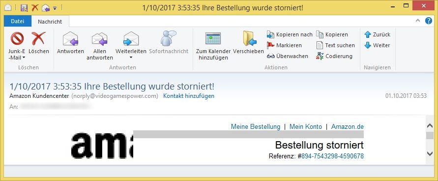 Amazon Bestellung Storniert Email