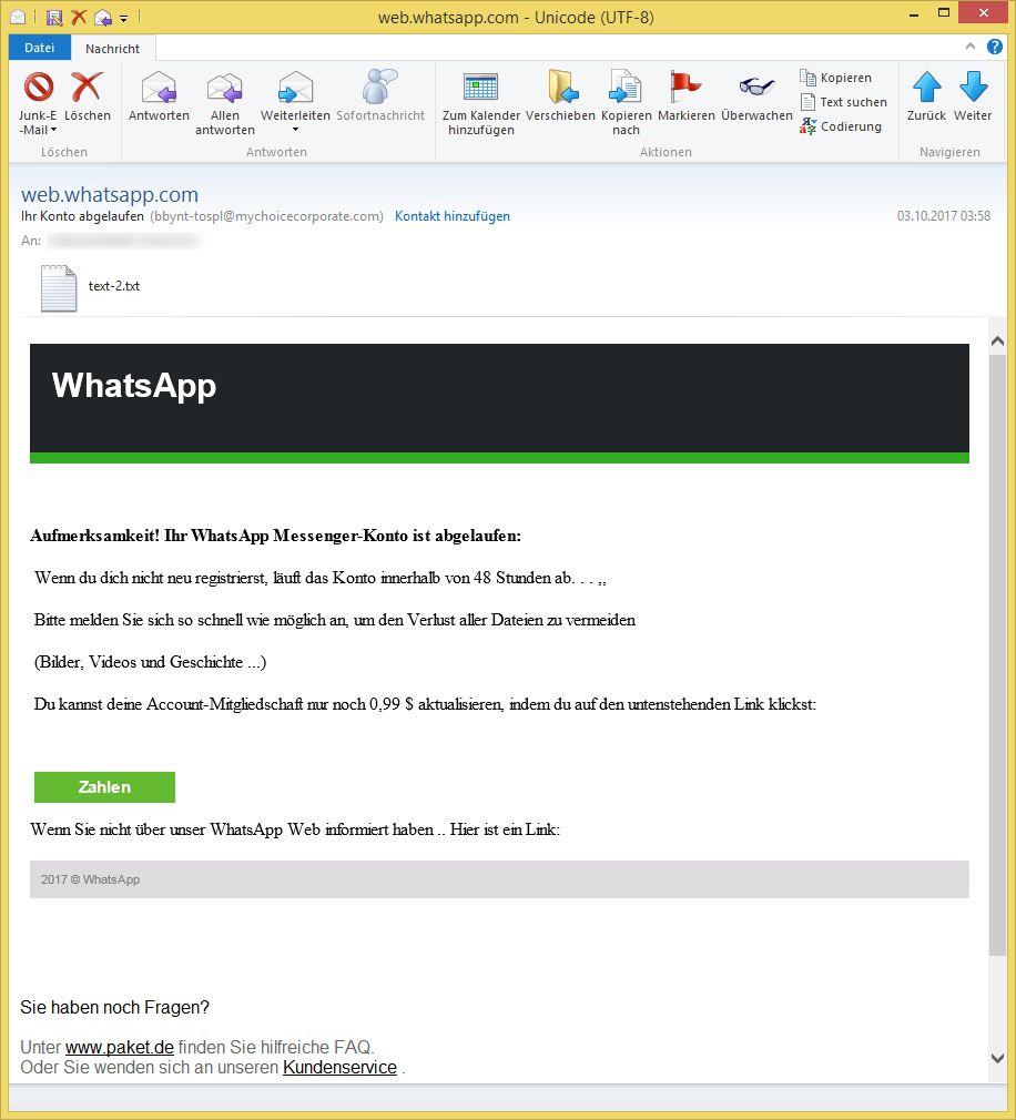 Whatsapp Ihr Konto Ist Abgelaufen