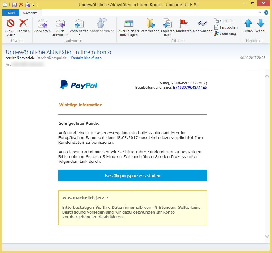 Paypal Bestätigungsprozess