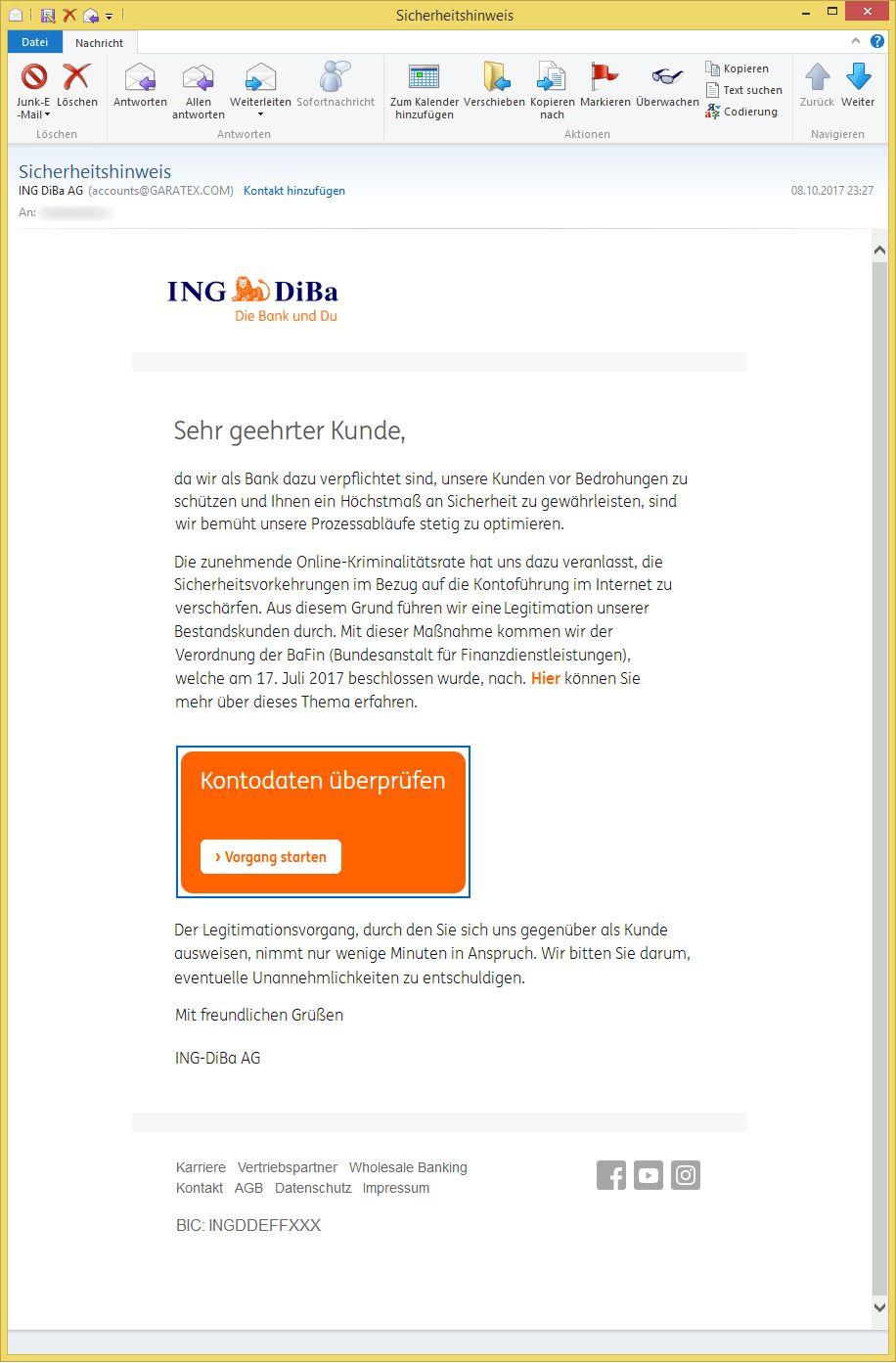 Sicherheitshinweis von ING DiBa AG accountsGARATEX.COM ist ...