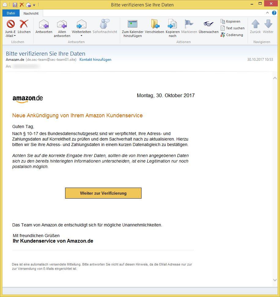 Amazon Bitte Verifizieren Sie Ihre Daten