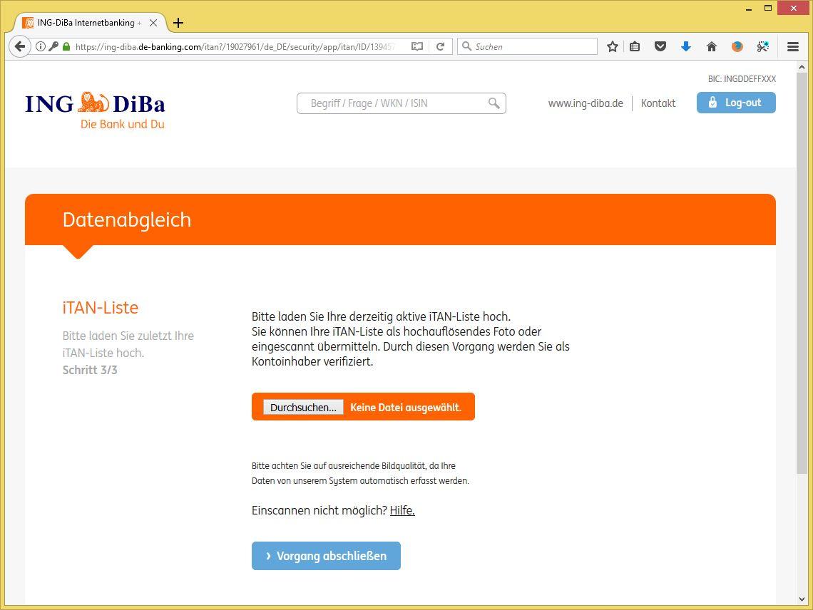 Ing Diba Tan Liste Hochladen