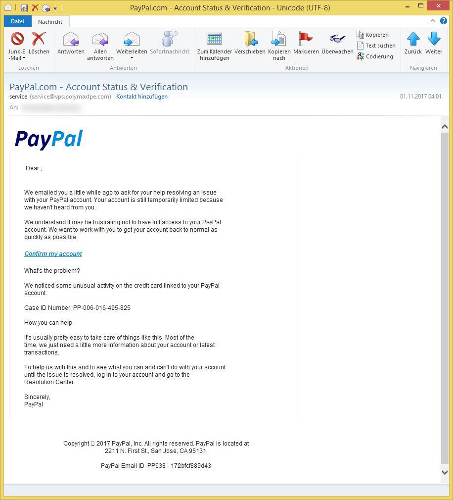 account status verification von service service ist phishing. Black Bedroom Furniture Sets. Home Design Ideas