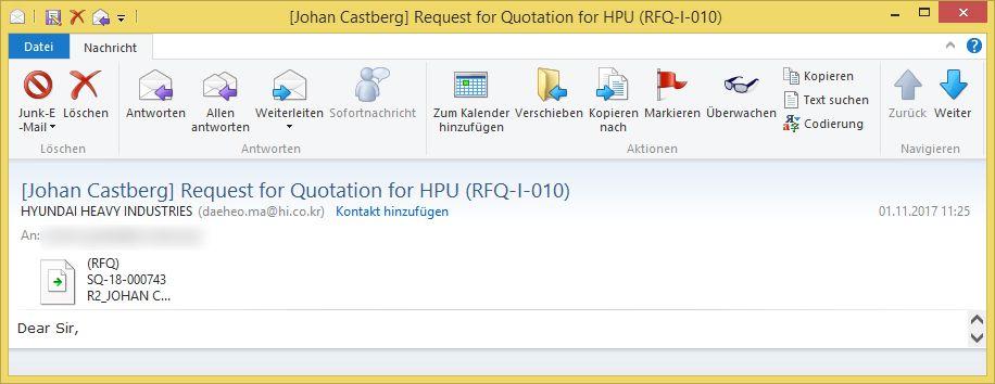 Johan Castberg Request For Quotation For Hpu Rfq I 010