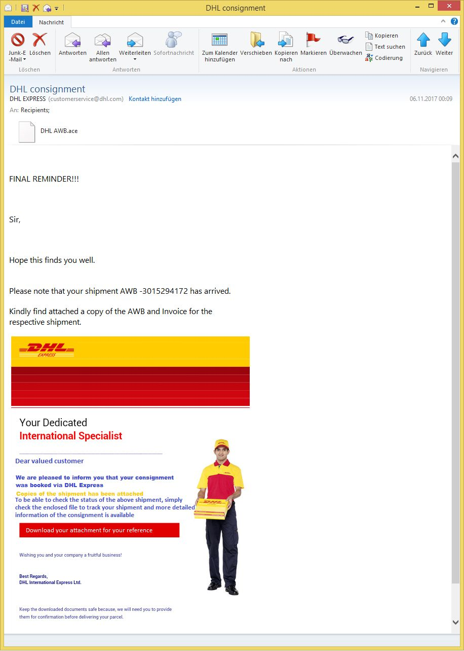DHL consignment von DHL EXPRESS (customerservice@dhl com