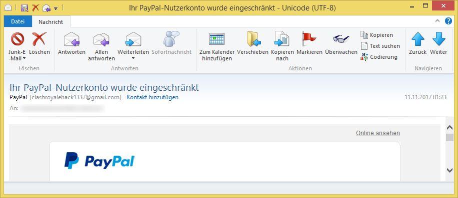 Paypal Eingeschränkt